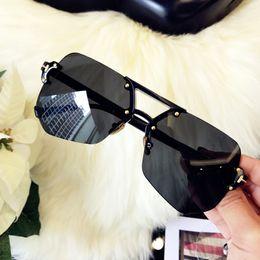 Wholesale Transparent Polarized Glasses - Frameless Rimless transparent cutting edge gray black ant personality Sunglasses 2017 new trendsetter Sunglasses woman man driving glasses