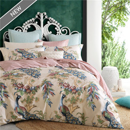Wholesale Peacock Comforter Set Full - IvaRose 4pcs 100%cotton Printed Bedding Set Peacock Bedding Set Bedclothes Duvet Cover Bed Sheet housse de couette