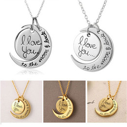 Wholesale Family Christmas Party - Fashion Necklace Moon Necklace I Love You To The Moon And Back For Mom Sister Family Pendant Link Chain
