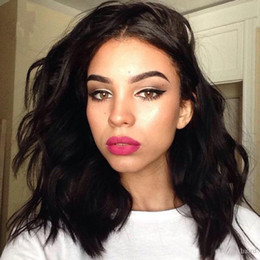 cut parting wig Promo Codes - Natural wave lace front wigs bob middle part wavy style short human hair wig lace bob cut wigs European wave hair