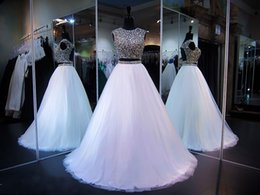 Wholesale Two Piece Quinceanera Gowns - Crystal Beaded Two Pieces Prom Quinceanera Dresses 2017 Ball Gown Vestido De Festa Long Tulle Formal Evening Gowns
