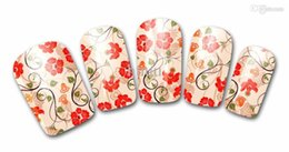 Wholesale Nail Art Designs Red - Free Shipping 2016 Nail Polish Stickers Wraps Art Decorations Countryside Red Flowers Design Adhesive Minx Beauty Manicure Tools