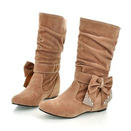 Wholesale Shoes Big Rhinestones - Wholesale- Big size US 4-15 New lovely Style BIG Biwte Rhinestone Mid Calf Faux suede autumn winter boots Flat women's shoes MLE-608-1