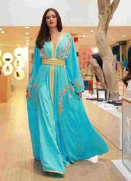 Wholesale Sapphire Blue Line Dress - Moroccan Kaftan Dresses Abaya Couture Embroidery Long Sleeves Sapphire V Neck Blue Chiffon Evening Gowns Saudi Arabic Caftan for Women