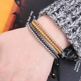 Wholesale Cubic Zirconia 4mm Round - Custom Bead Bracelets Black Rope Handmade Male Bracelets 4MM Multi Colors Round Beads Bracelet for Men 16B016R1