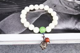 Wholesale Tibetan Jade Bangle - New 2017 White jade bodhi bracelet bracelet Fashion Single circle Tibetan Buddha beads For women&men Vintage jade jewelry