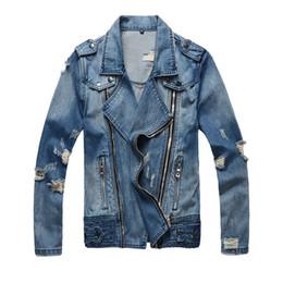 Wholesale Motorcycle Panels - Luxury Designer Fashion Mens Motorcycle Coat Turn-down Collar Slim Casual Male denim Jacket Blue Top Sale mens jackets brand Men Clothing