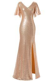 Wholesale Bridesmaid Dressess - V-Neck Mermaid Long Prom Dressess Sequin Short Sleeves Evening Gowns 2017 Floor Length Bridesmaid Dress