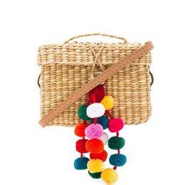Wholesale Bags Clutch Clear - 2017 Colorful Ball Summer Bags Beach Bag Straw Totes Bag Luxury Design Women Handmade Pom Pom Flap Box Handbags Travel Clutch C112