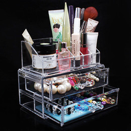 Wholesale Cosmetic Storage Transparent - Wholesale-2016 Acrylic Transparent Cosmetic Organizer Drawer Makeup Case Storage Insert Holder Jewel Box 18.8 x 10 x 5.7cm