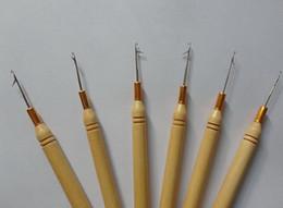 kit de herramientas de extensión de cabello micro perlas Rebajas Hook Needles Hook Pulling Needle con barra de madera Hair Extension Pulling Needle para extensiones de cabello productos
