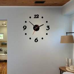 Wholesale 3d Wall Decorative Clock - Wholesale-Home Decorative Brief Living Room Wall Clocks DIY 3D Acrylic Wall Stickers Quartz Clock For Bed Room Home Decoration VB916 P72