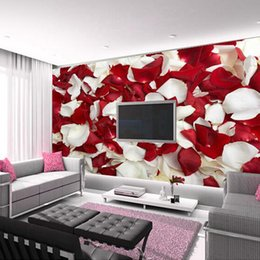Wholesale Rose Smoke - Wholesale-Great wall 3D Rose petals floral wallpaper murals for girls living room bedding room,papel de parede meninas floral