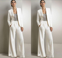 Wholesale Tuxedo Suit Models - 2016 Bling Sequins Ivory White Pants Suits Mother Of The Bride Dresses Formal Chiffon Tuxedos Women Evening Special Occasion Gowns Plus Size
