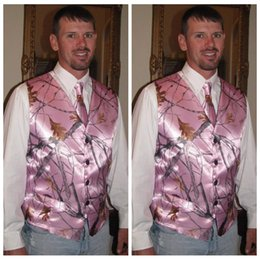 Wholesale Cheap Wedding Tuxedos For Sale - Pink Real Tree Camouflage Groom Vest 2017 Camo Vests Customized Camo Wedding Evening Prom Vest For Man With Tie Cheap Sale