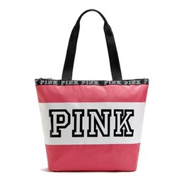 Wholesale Secret Cell - Secret VS Shoulder Bags Women Love Pink Handbags Large Capacity Travel Duffle Striped Waterproof Beach Bag Shoulder Bag