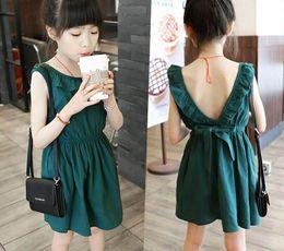 Wholesale Girls Dresses Lotus Tutu - 2017 Summer New Girl Dress Lotus collar Green Backless Sleeveless Cotton Dress Children Clothing 3-7Y 18017