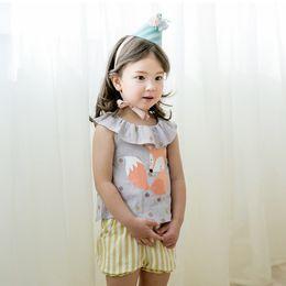 Wholesale Girl Outfits Korean - Cartoon Baby Outfits Fox Ruffle Collar Tops + Stripe Shorts Girls Clothing Sets Korean Casual Kids Princess Sets Children Clothes C990