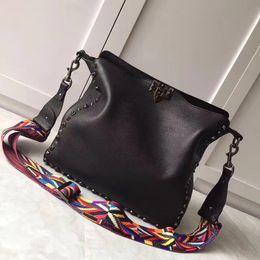 Wholesale Halloween Customs Women - 2017 new style black rivet nail fashion luxury leather custom made high-end women shoulder bags brand designer delicate plain small bag