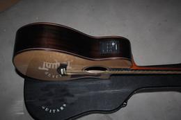 Wholesale Ebony Pick - Hot Wholesale Ebony flower fret inlay 916CE Burlywood electric acoustic guitar with fisherman pick-up with hard case