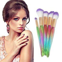 Wholesale Facial Puffs - 5pcs set Mermaid Brush Makeup Brush Set Cream Face Power Brushes Multipurpose Beauty Cosmetic Facial Puff Batch Blusher 2805107