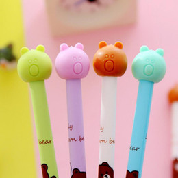 Wholesale Erasers Note - 20pcs lot Cartoon Bear Shape Gel Ink Pen Easily eliminate With Eraser 0.38mm Carbon Student Signature Pen Office Prize Gifts Free Shipping