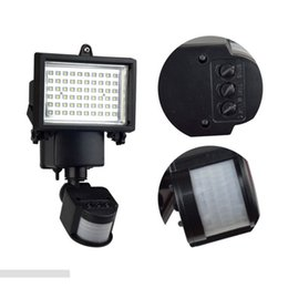 Wholesale Post Wall Solar Lighting - Wholesale- Outdoor Solar LED Reflector Lights Garden 60LEDs with PIR Motion Sensor Floodlights Spotlights Post Fountain Outside Wall Lamp