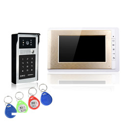 "Wholesale Wired Video Intercom Doorbell Systems - XSL-V70C-IDS gold and silver video doorbell 7"" LCD color screens and intercom system password and ID card to unlock free DHL shipping"