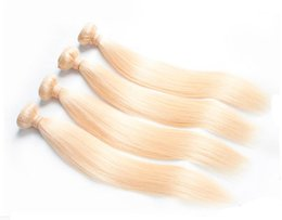 Wholesale Hair Weave 5a - Brazilian Hair Weave Bundles Best 5A 50g pc 5pcs Real manufacturers selling straight hair light blonde #613 Hair shade