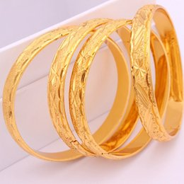 Wholesale Thick Bangle Bracelets - 1 Pieces Carved Bangle Thick 18k Yellow Gold Filled Classic Wedding Womens Bangle Bracelet Dia 60mm,10mm Wholesale Jewelry