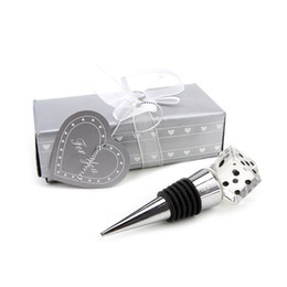 Wholesale Crystal Dice Wholesale - 50pcs lot+Unique Wedding Gift High Quality K9 Crystal Dice Bottle Stopper Bridal Shower Favors For Male Guests+FREE SHIPPING