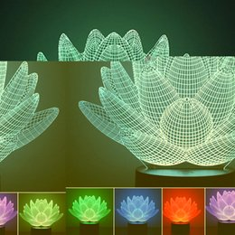Wholesale Lotus Table Lamp - Wholesale- 2017 Creative Lotus Flowers Acrylic Night Light 3D LED Touch Switch Colorful Gradient Novelty Lighting Table Lamp