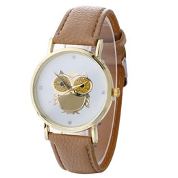 Wholesale Dresses Print Owl - Fashion women gold dial owl printing leather watches 2017 new wholesale casual ladies dress quartz wrist party watches for men
