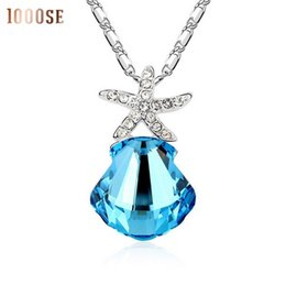 Wholesale Charming Red Coral Necklace - 2017 new The genuine SWAROVSKI Elements Crystal Necklace - Coral Sea fashion short chain pendant female clavicle sale