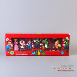 Wholesale Mario Yoshi - Super Mario Bros Peach Toad Mario Luigi Yoshi Donkey Kong PVC Action Figure Toys Dolls 6pcs set New in Box