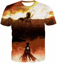 t-shirt titanio attacco Sconti Classic Cartoon 3D T Shirt Uomo Donna Anime Attack on Titan T-Shirt Estate Casual Top Tees Plus Size S-5XL H36