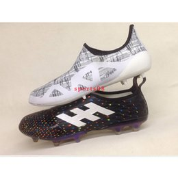 Wholesale Limited Soccer Cleats - Wholesale 2017 Top Original GLITCH 17 FG Mens Soccer Shoes Limited Edition Football Boots Best Quality Soccer Cleats Black White 39-45