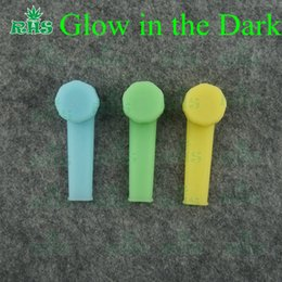 Wholesale Green Smoke Wholesale Pricing - Glow in the dark silicone smoking hand pipe piecemaker without logo free send bowl cheap price DHL free fase ship S-03