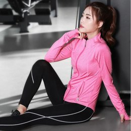 Wholesale Pink Dance Tights - Three-piece Suit Sport Yoga Sets Suits Pants Bra Clothes Jacket Gym Polyester Running Tights Women Sports Fitness Dancing jersey New