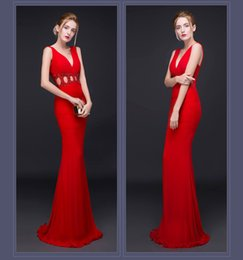 Wholesale Host Club - Long Pattern Deep V Sex Sense Of Hollow Bead Piece Tail Cultivate One Morality Hosting The Annual Meeting Of the Evening Party Dress