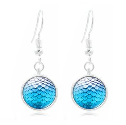 Wholesale Earring Fish - Fashion Silver Plated Mermaid Fish Scale Round Time Gemstone Dangle Earrings For Women Lady Mixed Colors S8112
