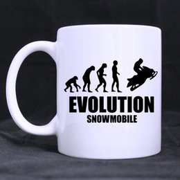 Wholesale Unique Design Cup - Wholesale- Evolution Snowmobile Custom Unique Design Beer Coffee Mug White Cups Office Home Mugs Ceramic Gift Printed on Two Sides