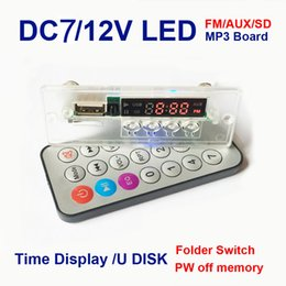 Wholesale Wholesale Integrated Circuits - Wholesale- Hot Sale 5V 12V MP3 audio decoder board Digital LED remote control usb TF FM radio Integrated Circuits DIY Parts Modules Boards