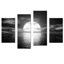 Wholesale Large Fashion Painting - LK403 4 Panel Canvas Paintings Seascape Large Wall Art Oil Paintings On Canvas Unframed Or Framed Ready To Hang (32x47Inches) For Home