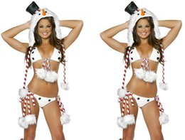 Wholesale Sexy Feet Set - Christmas Snowman Clothing Bar Singer Uniforms Christmas Party Sexy Dress Uniforms Temptation Stripe Pompoms Bikini +Hat + Set Foot