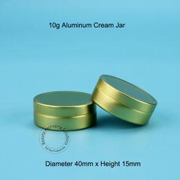 Wholesale Aluminum Vials - 100pcs Lot Wholesale 10g Aluminum Cream Jar Refillable Women Cosmetic Gold Lid Mini Makeup Empty Vial Small Facial Cream Bottle