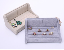 Wholesale Ring Display Sofa - [Simple Seven] Brief Korean Linen Bracelet Sofa Display Lover Couple Rings Case High Quality Ice Velvet Earring Studs Container