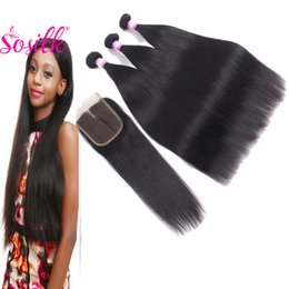 Wholesale Discount Remy Hair Bundles - So Silk Mink Brazilian Human Hair Bundles With 4X4 Virgin Lace Silk Base Closure Natural Discount Remy Hair Weaves 3 Pcs With Closure
