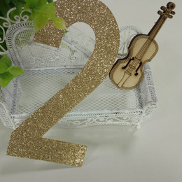 """Wholesale Cake Decorations China - Hot sale 1000pcs gold glitter paper number """"2"""" Decor Festive Birthday Party New Year,Christmas ,Cake"""