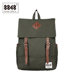 Wholesale Laptop Bags Pattern - Wholesale- 8848 Men Backpacks Amy Green Casual Bags 100% Polyester Free Shipping Knapsack Solid Simple Pattern Laptop School Bag D002-7